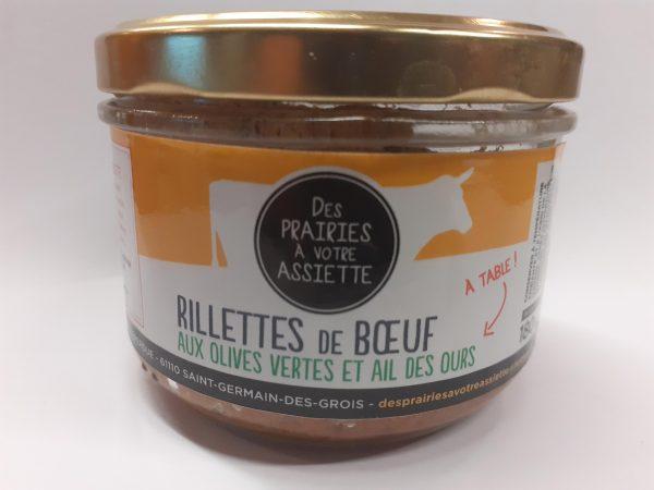 rillettes de boeuf olives vertes ail des ours